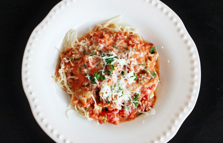 Recipe Angel Hair Pasta With Spicy Creamy Tomato Sauce And Italian Sausage